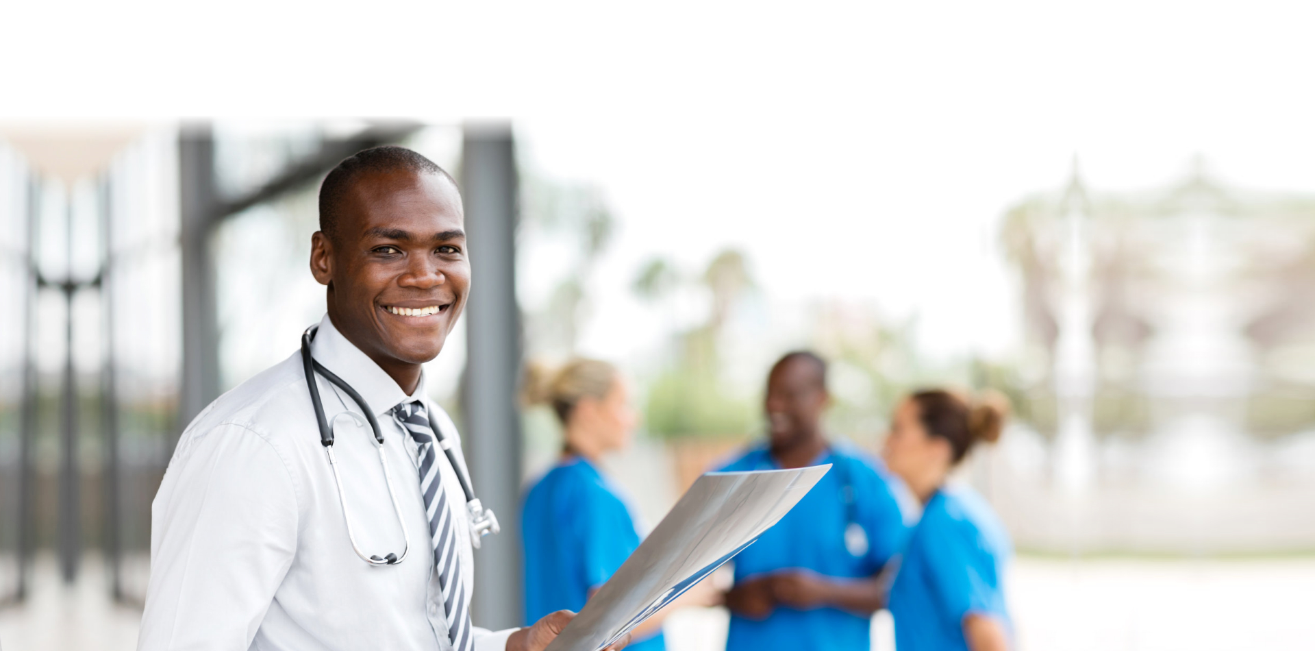 Young african hospital doctor